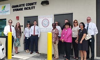 Clerk Roger Eaton and staff at the new file storage faciliy in Murdock